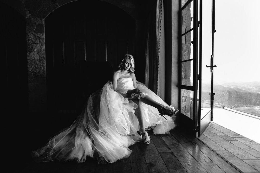 Malibu Rocky Oaks Photographer - Bride in Black and White