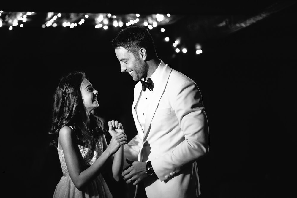 Justin Hartley with his daughter at his wedding at Calamigos Ranch in Malibu