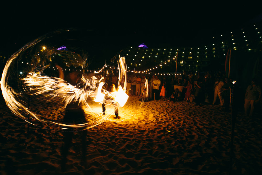Paradisus Cancun Indian Wedding - Beautiful Fire Show on the Beach