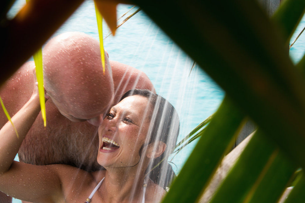Four Seasons Bora Bora Wedding - Laughter in the shower