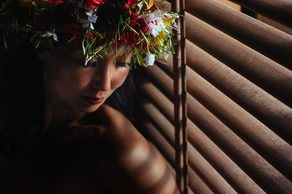 Four Seasons Bora Bora Wedding - Bride in the window light
