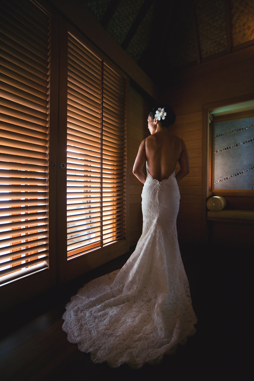 Four Seasons Bora Bora Wedding - Wedding Dress by Window Light