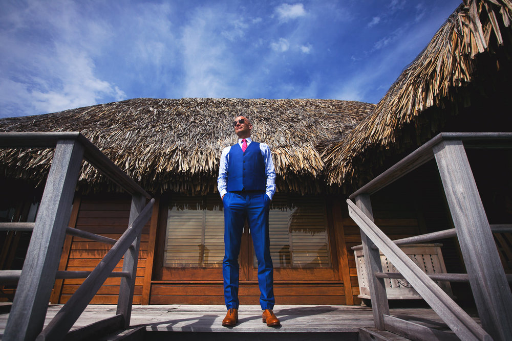Four Seasons Bora Bora Wedding - Groom looking good