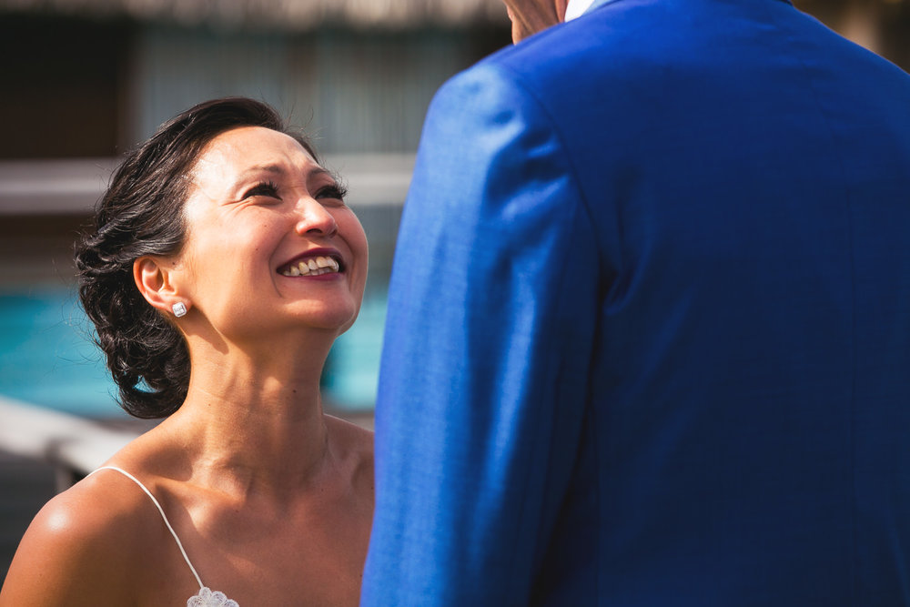 Four Seasons Bora Bora Wedding - Brides emotions seeing Groom