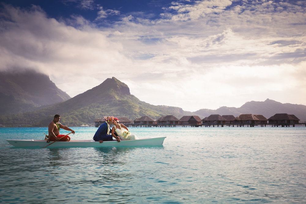 Four Seasons Bora Bora Wedding - Being rowed back together
