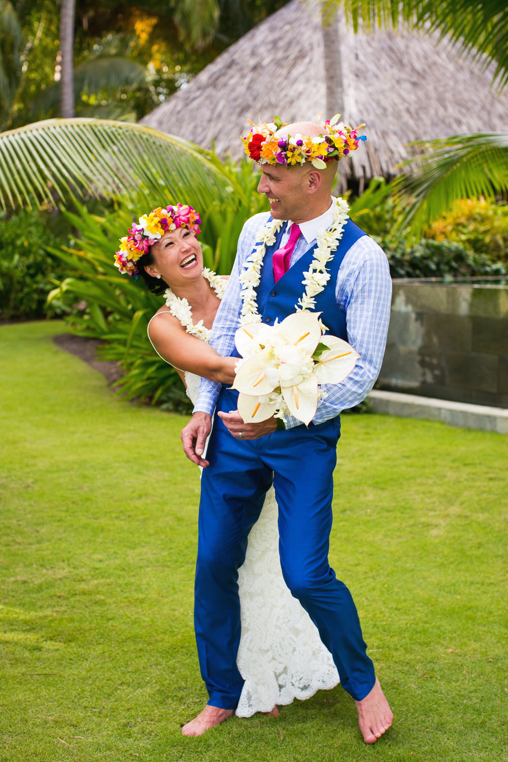 Four Seasons Bora Bora Wedding - Barefoot in the grass with joy
