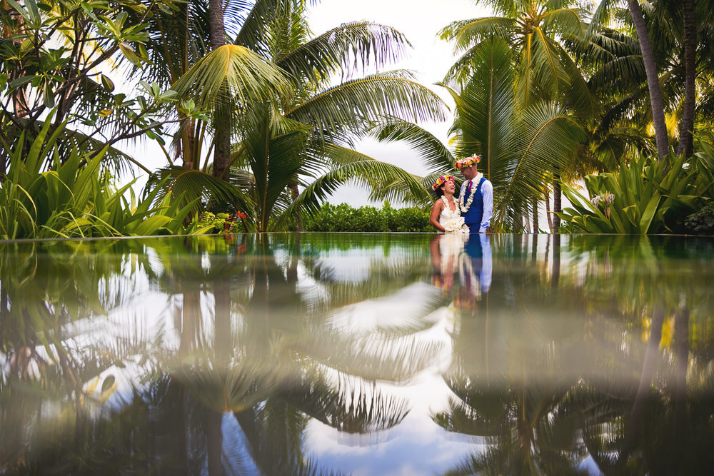 Four Seasons Bora Bora Wedding - Holding each other