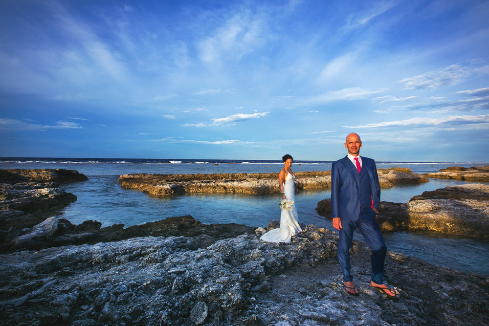 Four Seasons Bora Bora Wedding - Portrait with vivid background