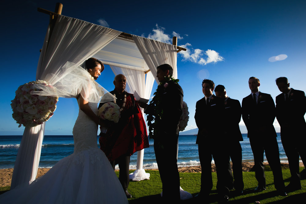 Hyatt Regency Maui Wedding - Bride and Groom at the podium