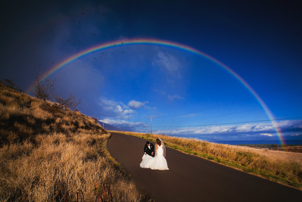 Hyatt Regency Maui Wedding - Walking together under the rainbow