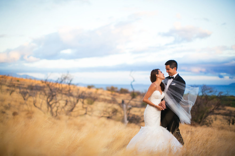 Hyatt Regency Maui Wedding - Embracing in a beautiful shot