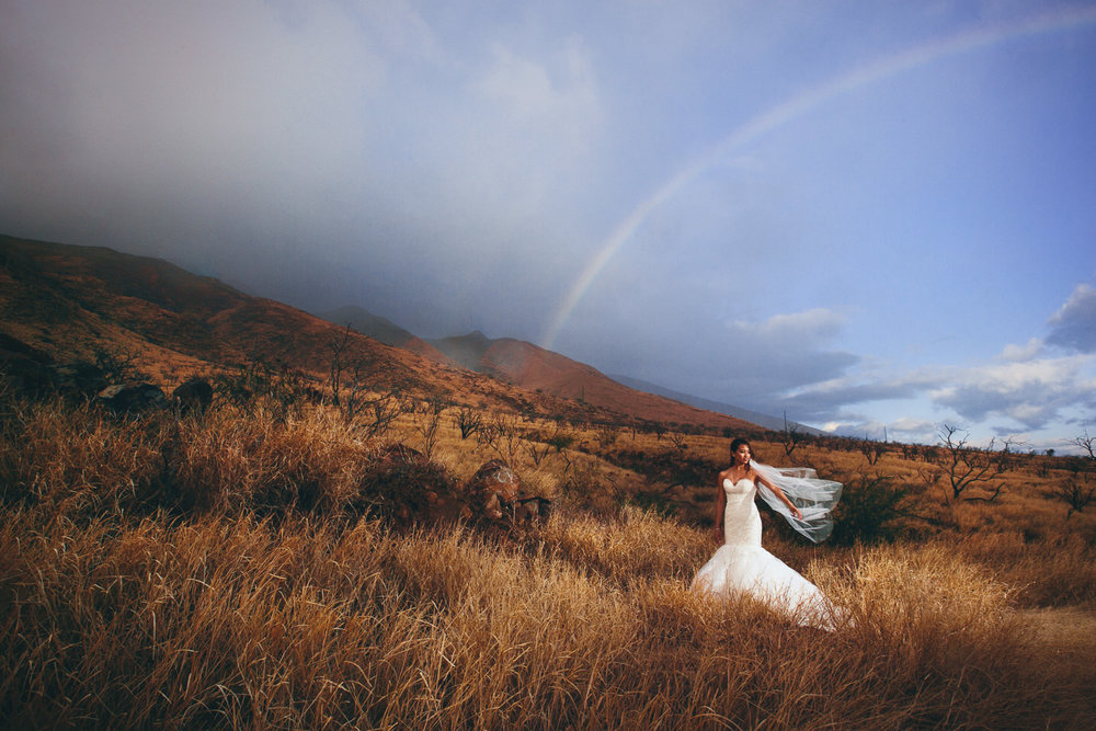 Hyatt Regency Maui Wedding - Bride out under the vivid sky