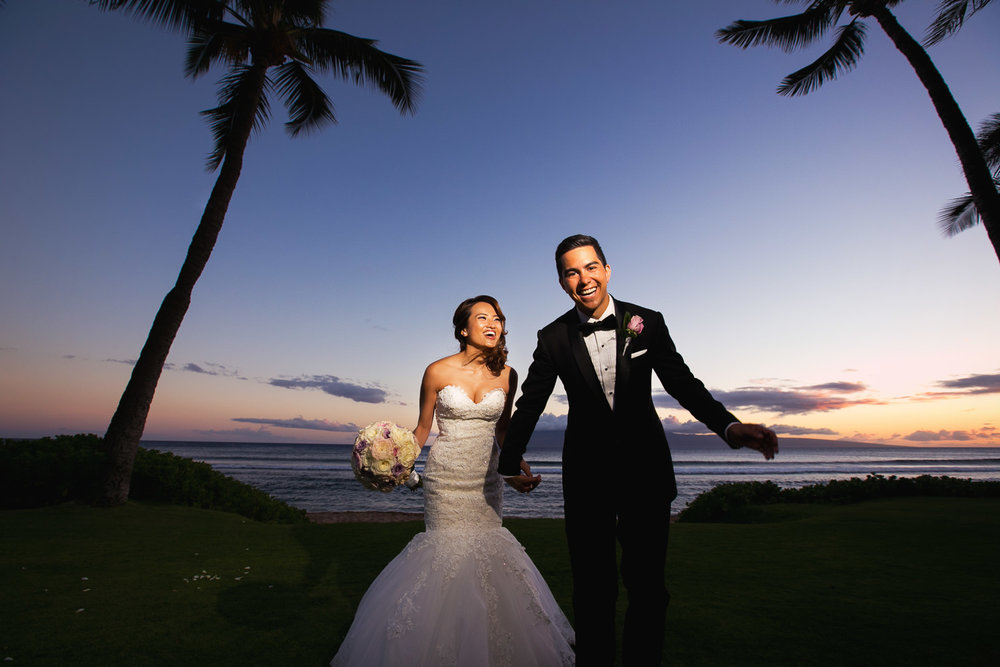 Hyatt Regency Maui Wedding - Holding hands in the sunset