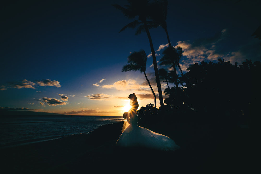 Hyatt Regency Maui Wedding - Bride in the sunset