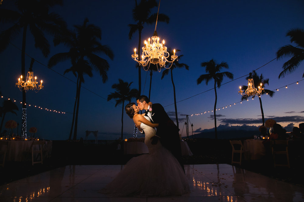 Hyatt Regency Maui Wedding - Kissing on the dance floor