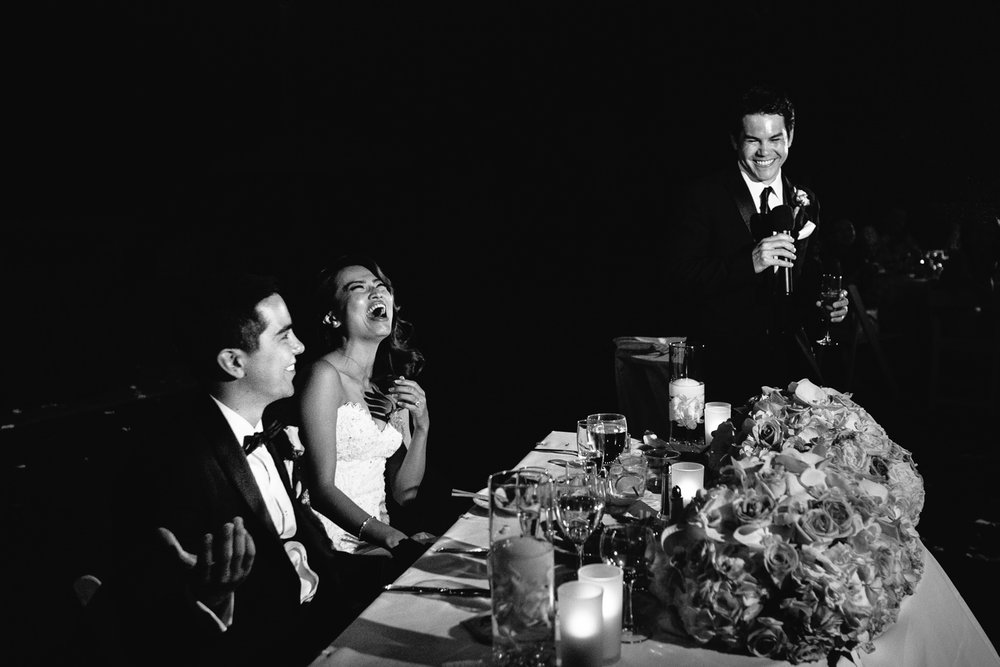 Hyatt Regency Maui Wedding - Laughing as they receive their toasts