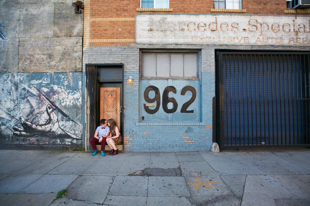 Same Sex Los Angeles Engagement - Sitting together in doorway