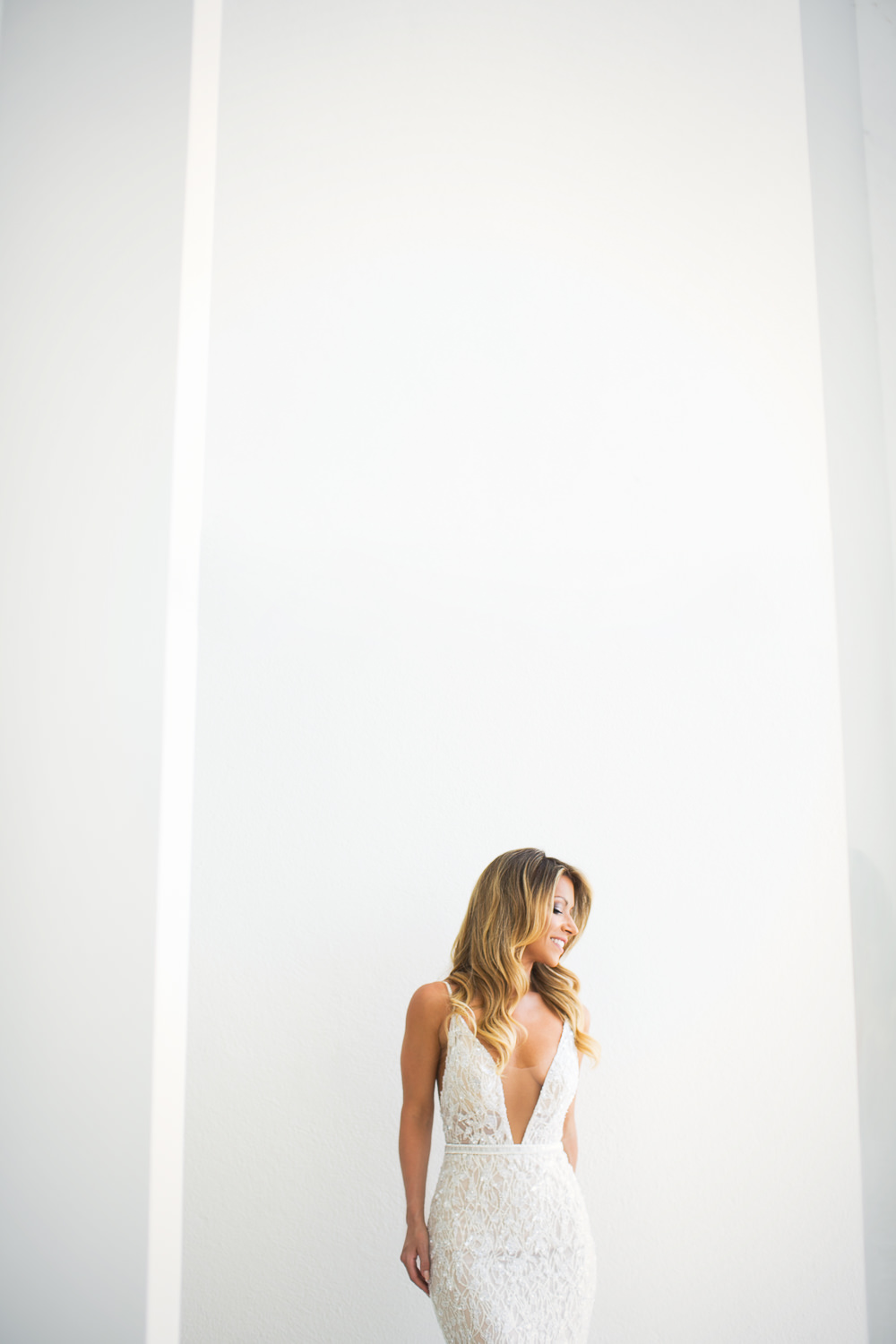 Viceroy Los Cabos Wedding - Brides portrait with the white backdrop