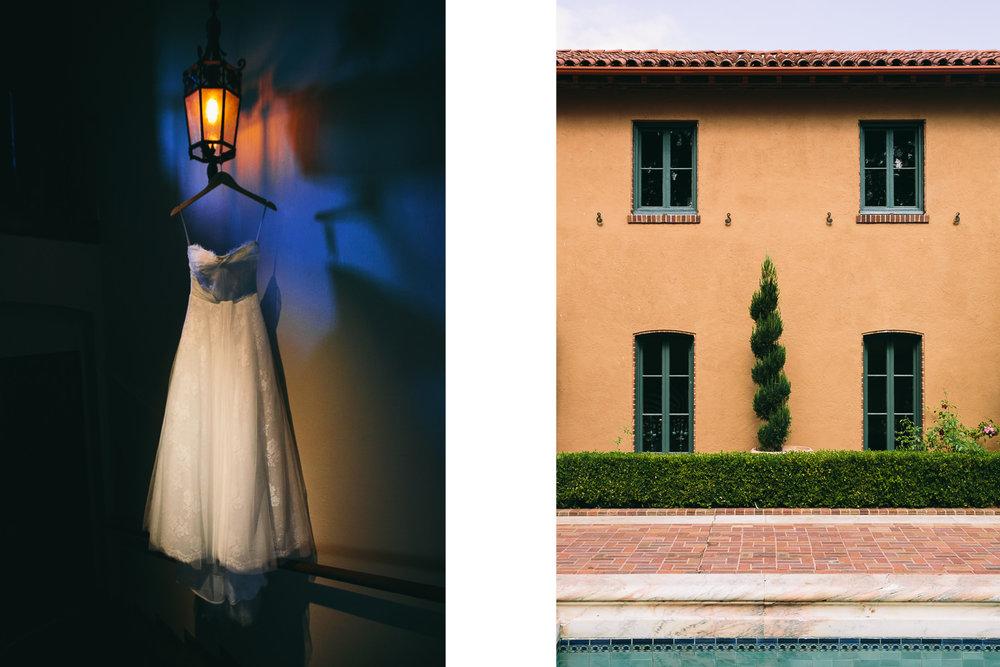 Rose McGowan Wedding at Paramour Estate - Split shot of dress and estate