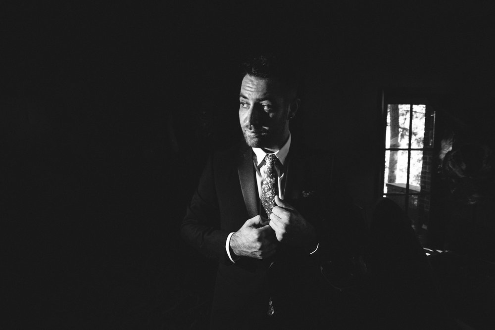 Rose McGowan Wedding at Paramour Estate - Groom in black and white