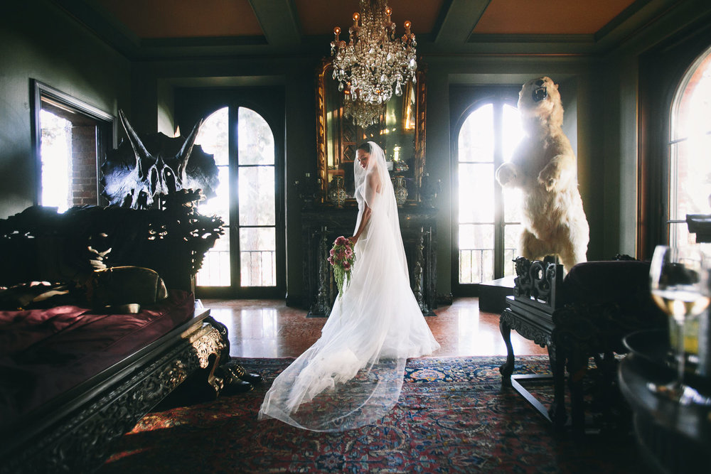 Rose McGowan Wedding at Paramour Estate - Bride in the lounge