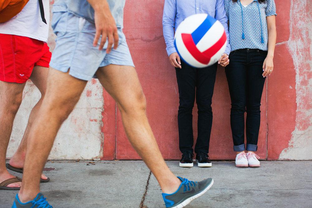 Venice Beach Engagement Photos - Soccer ball