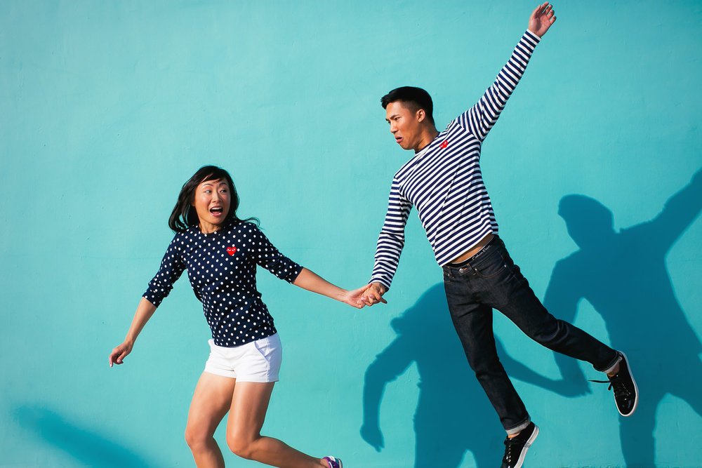 Venice Beach Engagement Photos - Jumping together