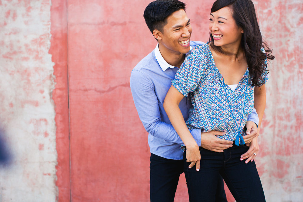 Venice Beach Engagement Photos - Embracing in love