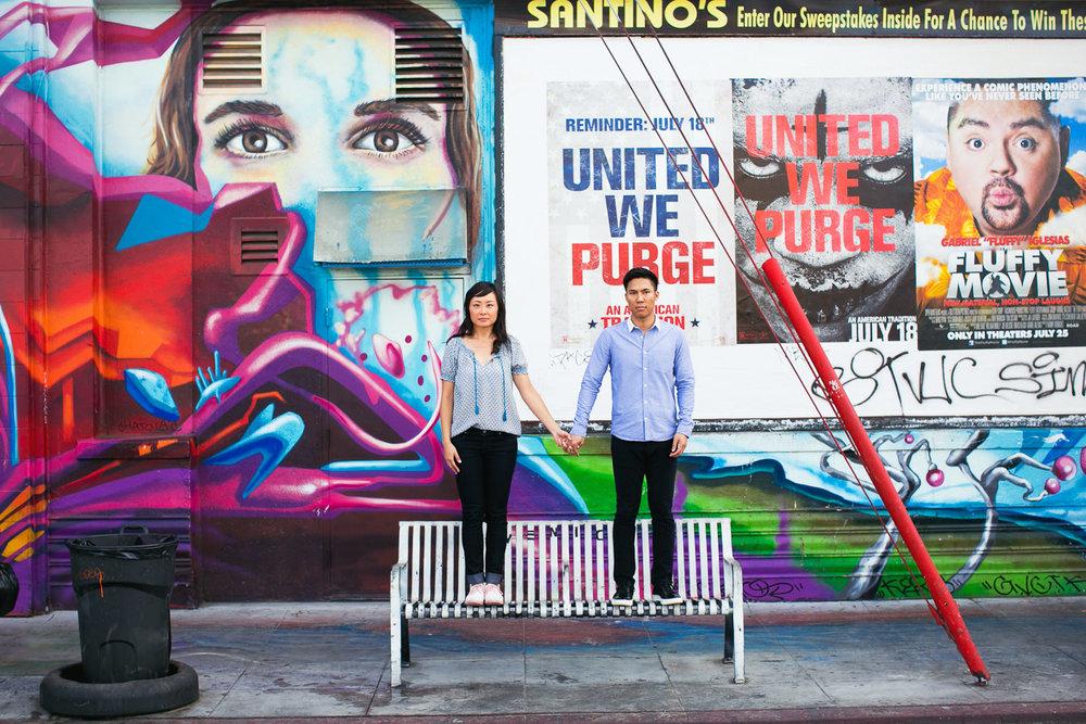 Venice Beach Engagement Photos - Standing on a bench