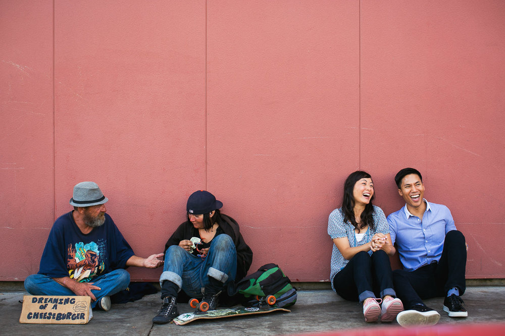 Venice Beach Engagement Photos - Sitting with the homeless