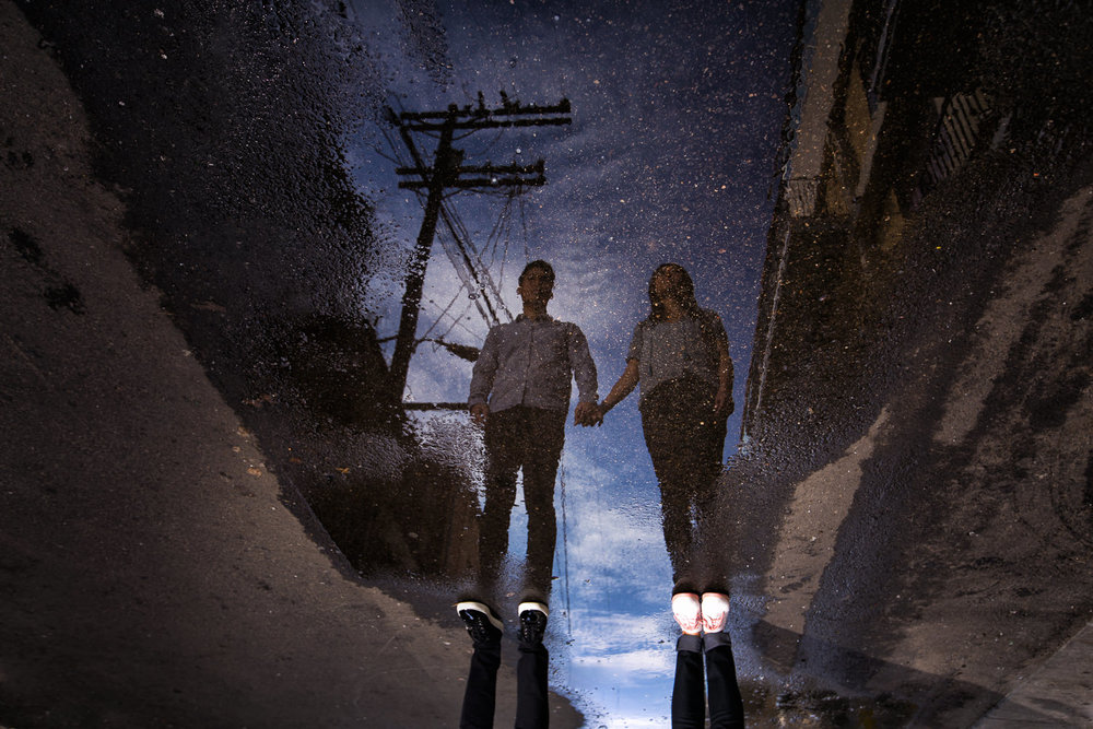 Venice Beach Engagement Photos - Reflections in the puddle