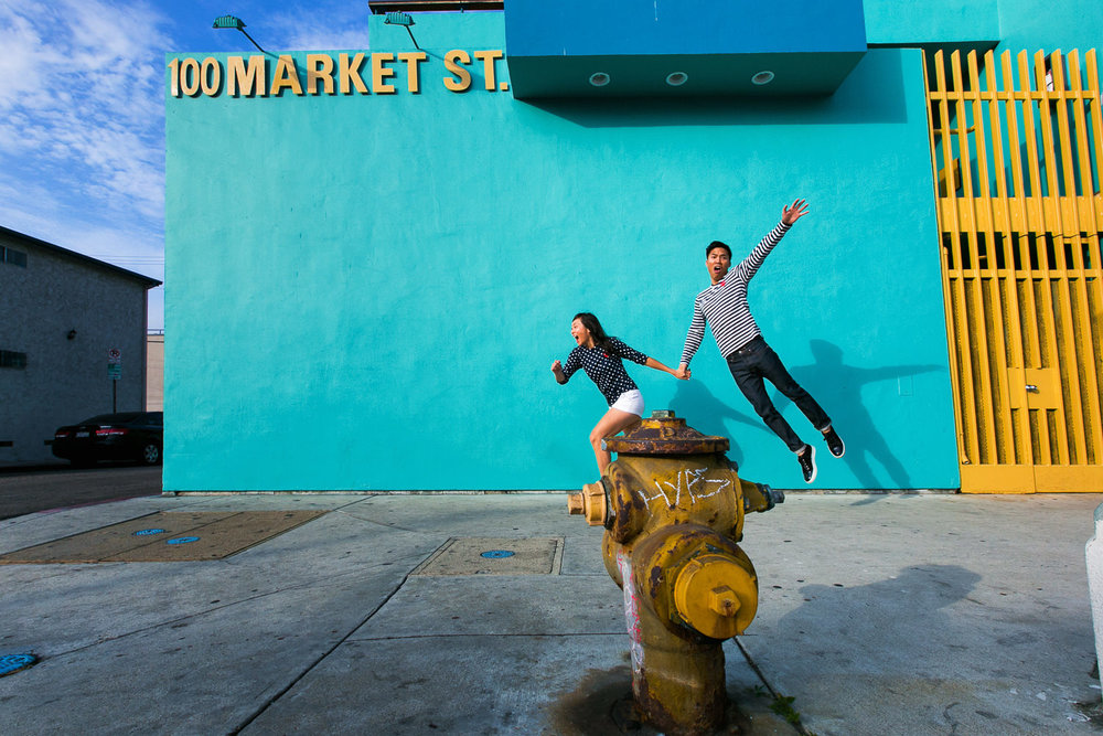 Venice Beach Engagement Photos - Jumping together in Venice