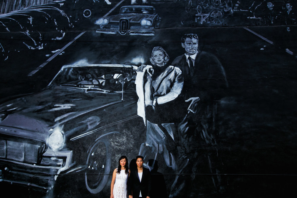 Venice Beach Engagement Photos - Together under the classy wall