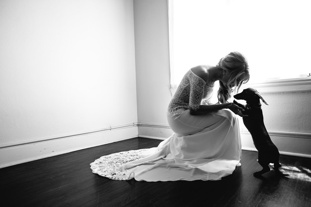 Ebell Long Beach Wedding - Bride playing with her dog