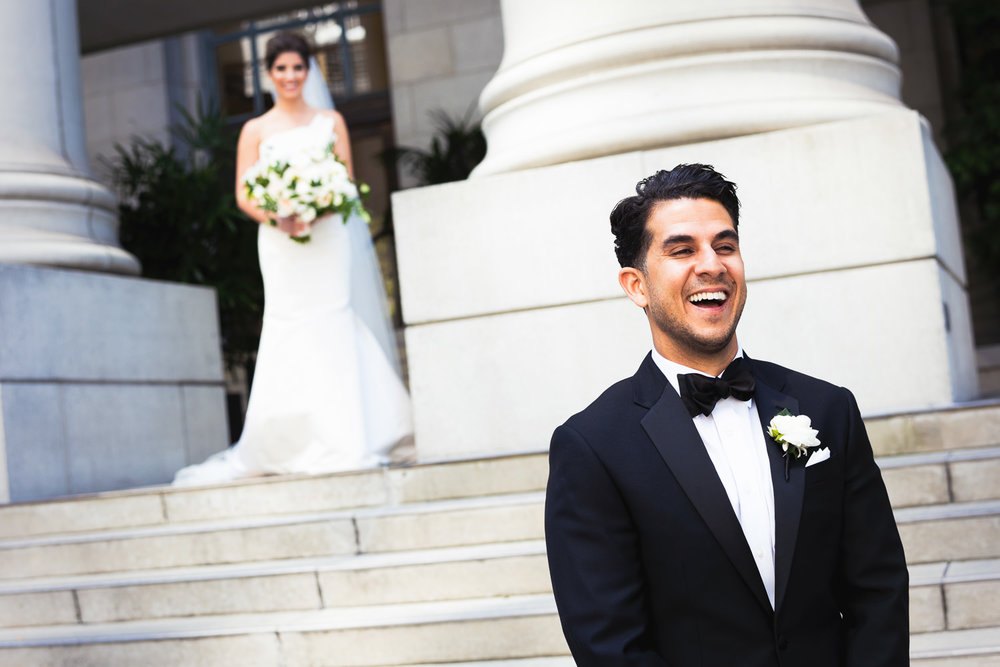 Wedding First Look at Bently Reserve Wedding