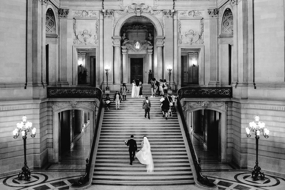 Wedding portrait at San Francisco City Hall before their Bently Reserve Wedding