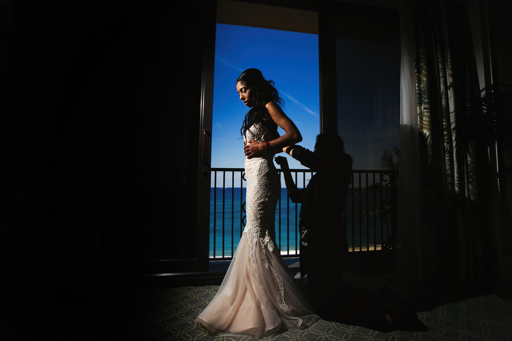 Breakers Palm Beach Wedding Bride Gets ready with ocean in the background