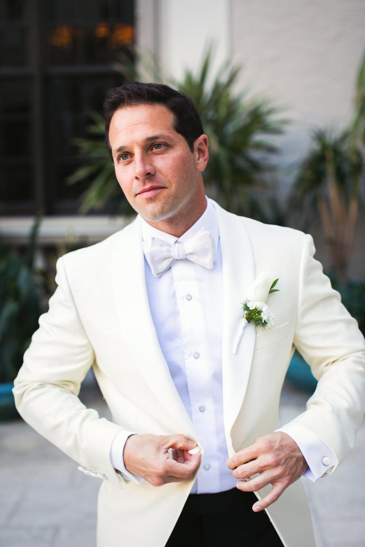 Breakers Palm Beach Wedding Groom Portrait in White Tuxedo Jacket