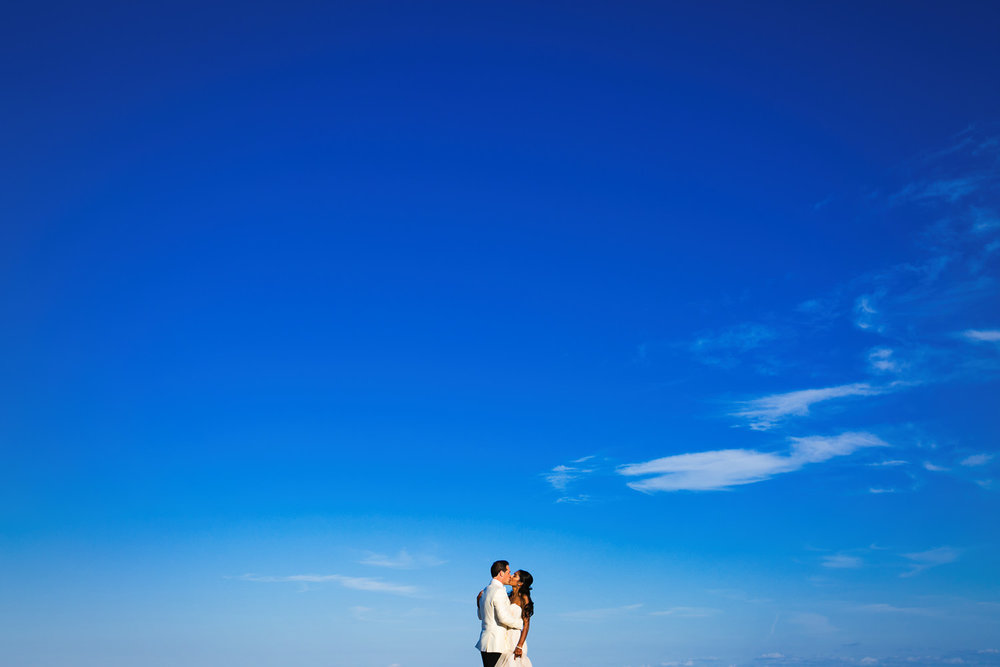 Breakers Palm Beach Wedding epic beach photo with blue sky