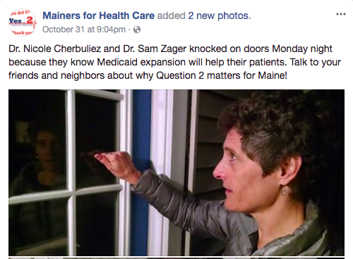 Nicole Cherbuliez knocking on doors to help pass Medicaid expansion  Photo credit: Mainers for Health Care