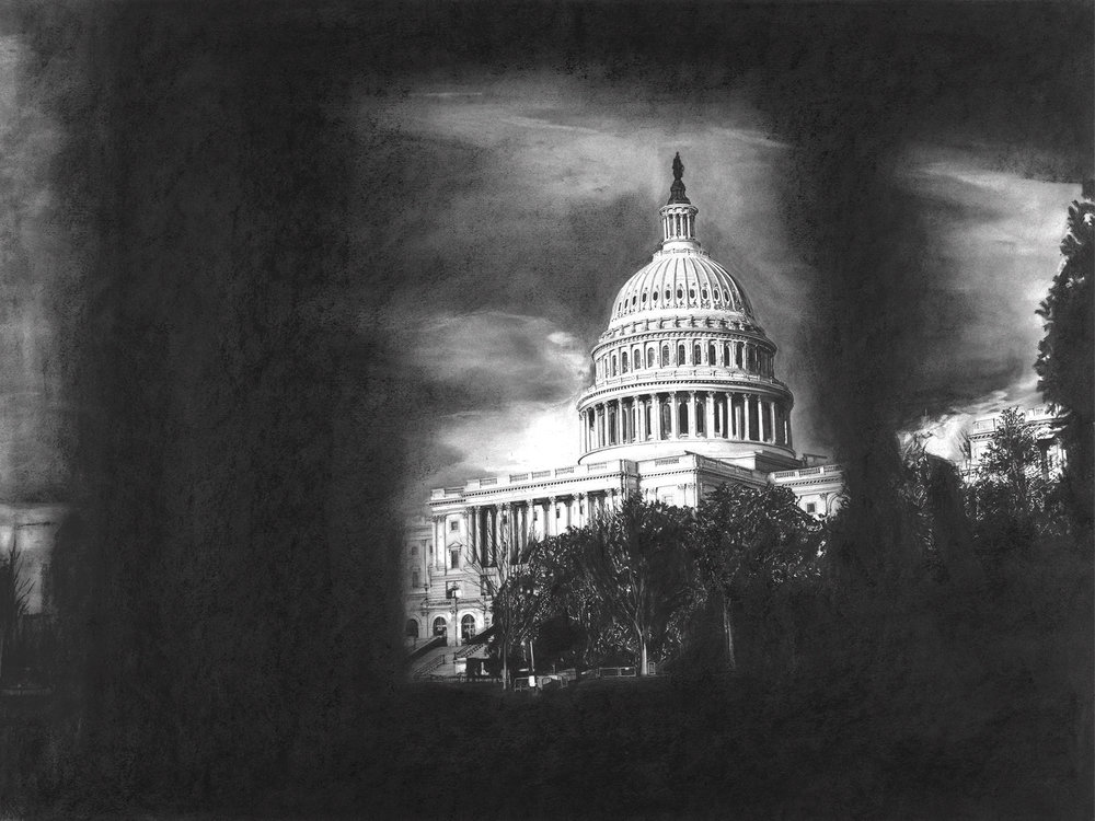 "Capitol Views    Charcoal on archival paper  18""x24"""