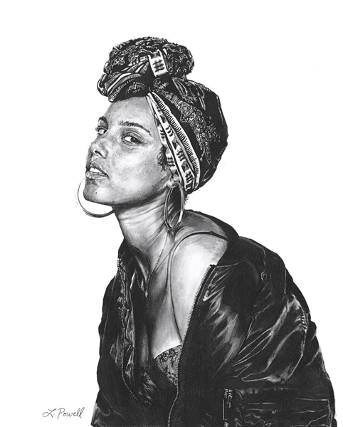 "Alicia Keys    Charcoal on archival paper  8""x10"""