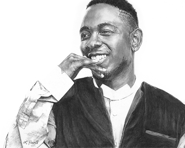 "Kendrick Lamar    Charcoal on archival paper  8""x10"""