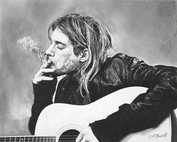 "Kurt Cobain    Charcoal on archival paper  8""x10"""