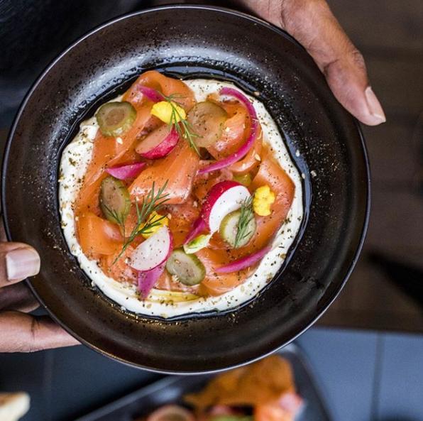The Hummus Club: Cured Salmon, labneh, house pickles, zaatar