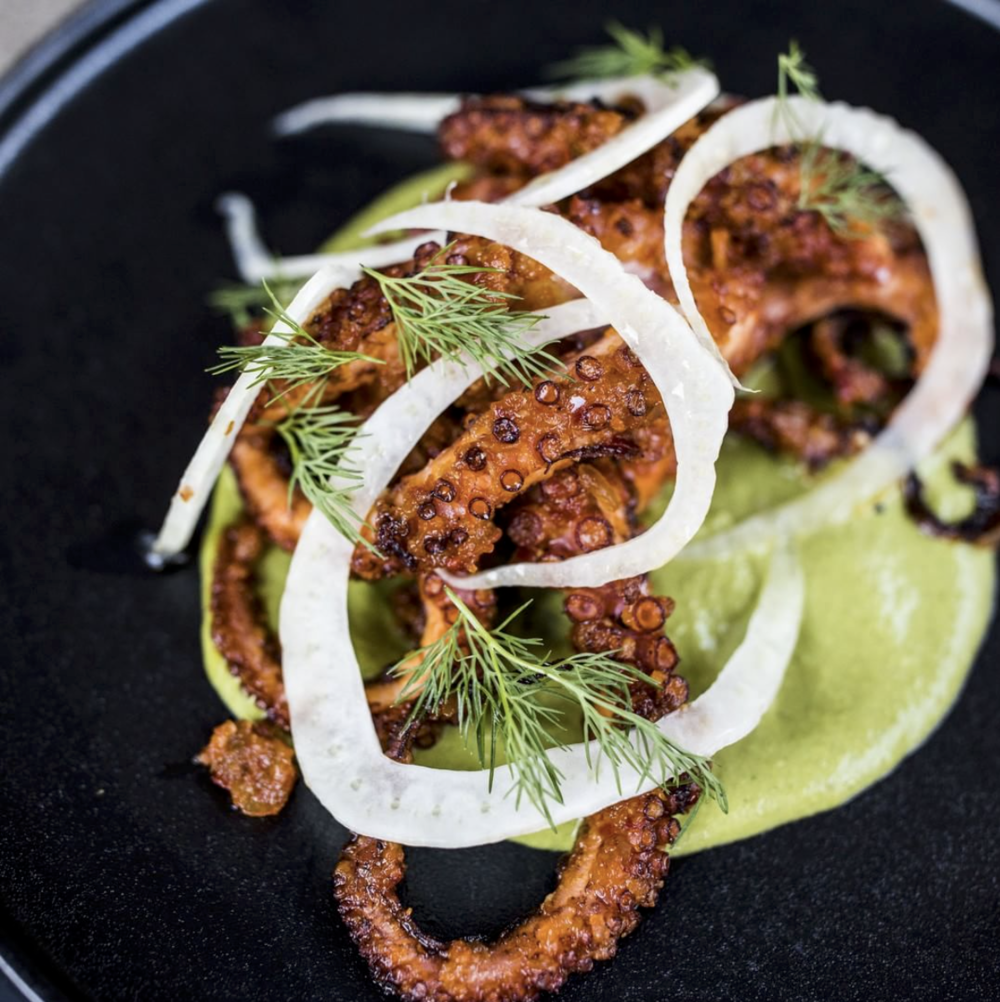 The Hummus Club:  Crispy WA Octopus with aleppo pepper jam, green tahini and fennel
