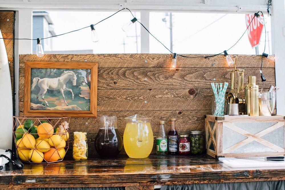 Mixers & Garnishes - Coca Cola · Diet Coke · Ginger Ale · Sprite · Club Soda · Tonic · Cranberry Juice · Orange Juice · Lime Juice · Lemon Juice · Lemons · Limes · Oranges
