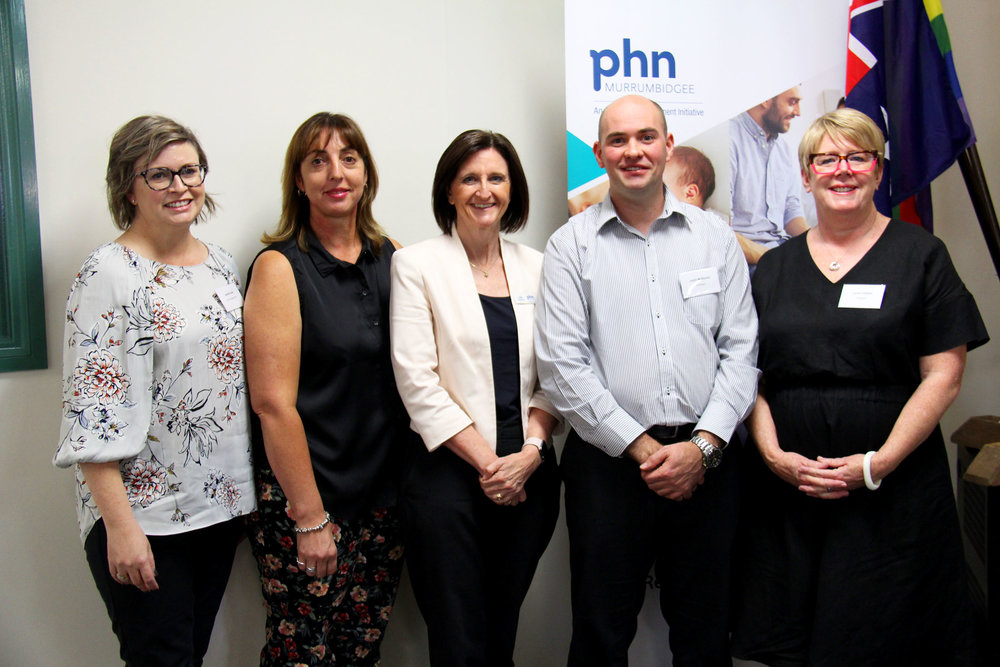 Janelle Dufty (MPHN Portfolio Manager), Karen Snaidero (mental health advocate), Julie Redway (MPHN Acting CEO), Justin McKenzie (Wellways General Manager Services NSW and ACT), and Laura Collister (Wellways Director of Mental Health Services Research and Development).