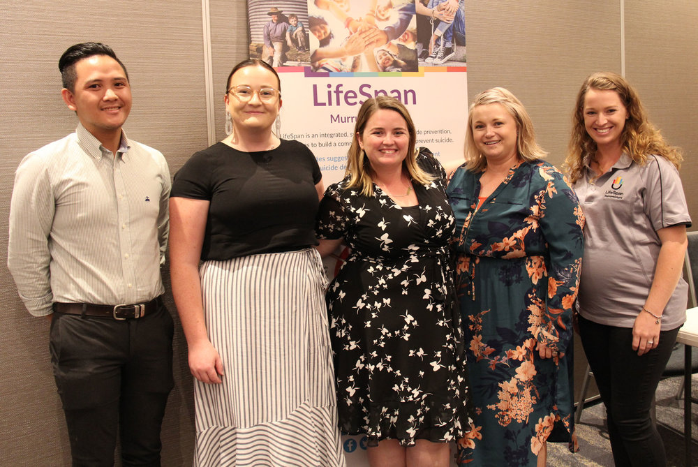 Nathan from The Black Dog Institute, Bec and Alex from Mindframe, and Maja and Seryn from LifeSpan Murrumbidgee.