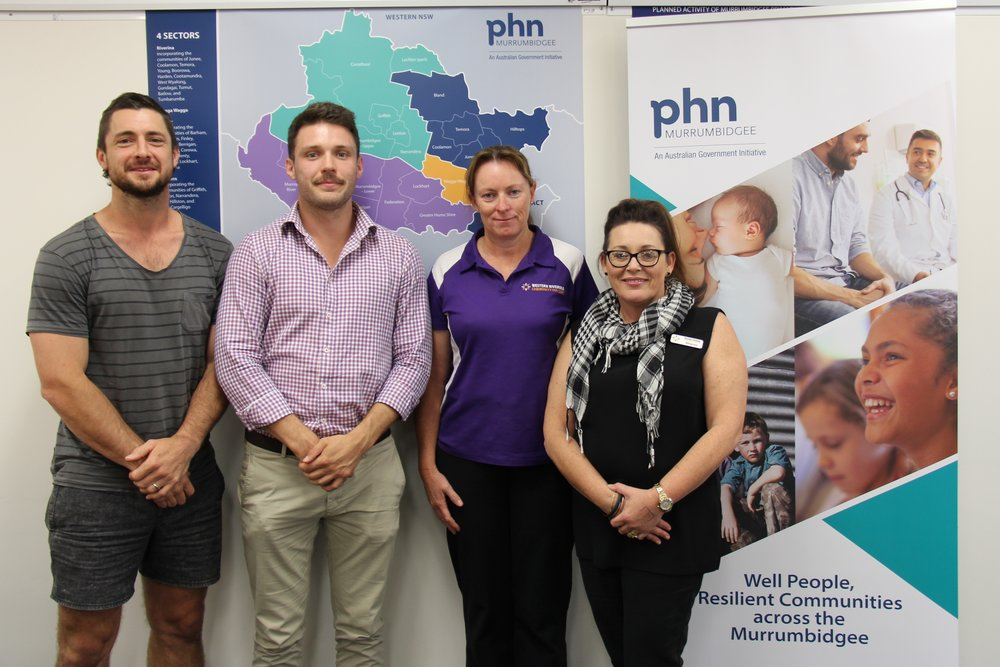 Our Pitch Night finalists: Daniel Thomson from Balance Up Nutrition, Alex King from Live Life Get Active, and Natalie O'Leary and Sharon De Valentin from Western Riverina Community College.